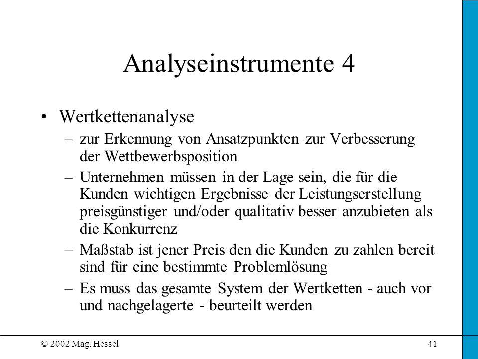 © 2002 Mag. Hessel41 Wertkettenanalyse –zur Erkennung von Ansatzpunkten zur Verbesserung der Wettbewerbsposition –Unternehmen müssen in der Lage sein,