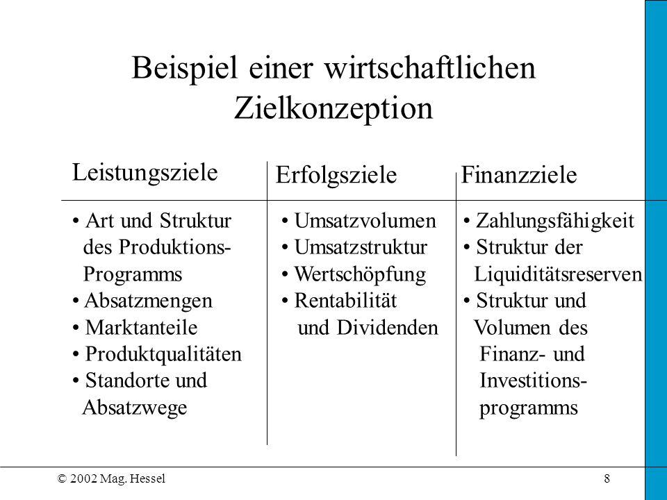 © 2002 Mag. Hessel8 Beispiel einer wirtschaftlichen Zielkonzeption Leistungsziele ErfolgszieleFinanzziele Art und Struktur des Produktions- Programms