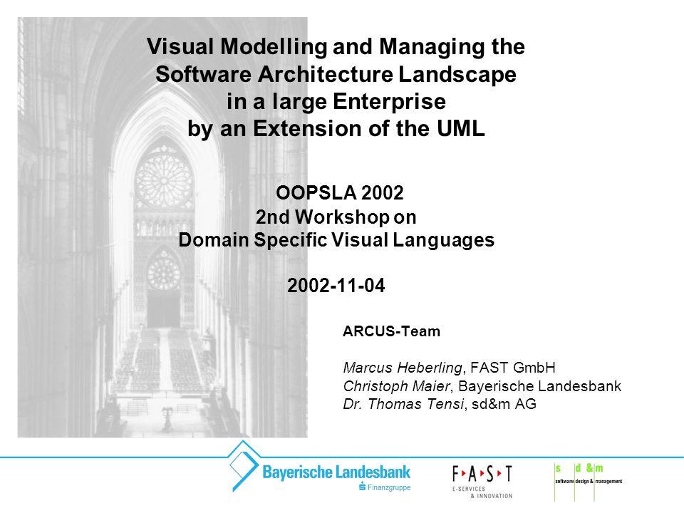 ARCUS Software Architecture Modelling 22 Werkzeuge Modellierung in Rational Rose erweitert um diverse Skripten zur Generierung von Modellteilen (z.B.