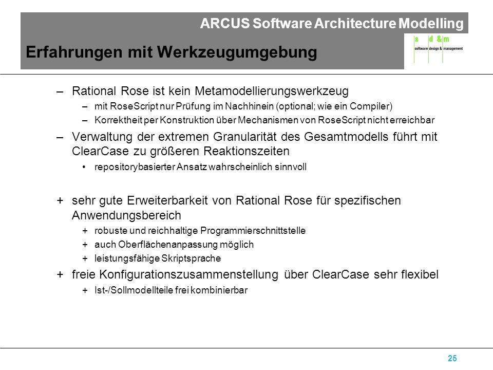 ARCUS Software Architecture Modelling 25 Erfahrungen mit Werkzeugumgebung –Rational Rose ist kein Metamodellierungswerkzeug –mit RoseScript nur Prüfung im Nachhinein (optional; wie ein Compiler) –Korrektheit per Konstruktion über Mechanismen von RoseScript nicht erreichbar –Verwaltung der extremen Granularität des Gesamtmodells führt mit ClearCase zu größeren Reaktionszeiten repositorybasierter Ansatz wahrscheinlich sinnvoll +sehr gute Erweiterbarkeit von Rational Rose für spezifischen Anwendungsbereich +robuste und reichhaltige Programmierschnittstelle +auch Oberflächenanpassung möglich +leistungsfähige Skriptsprache +freie Konfigurationszusammenstellung über ClearCase sehr flexibel +Ist-/Sollmodellteile frei kombinierbar