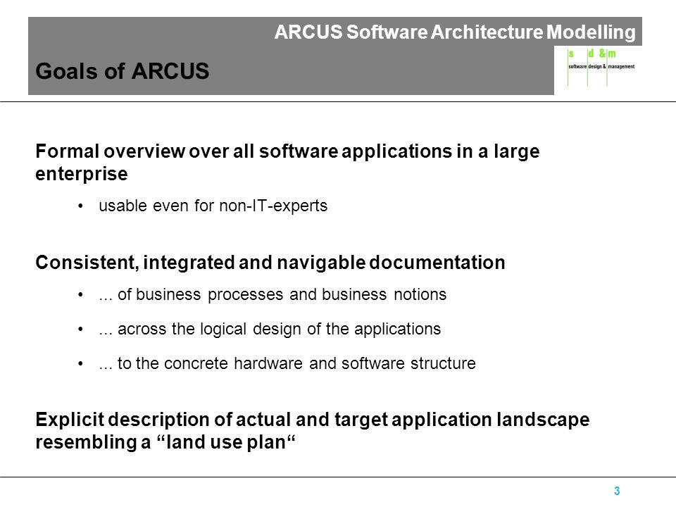 ARCUS Software Architecture Modelling 14 Logical Application Layer The logical application layer describes an abstract logical view of the application structure the applications, the components of the applications, the business data and relations between those elements.