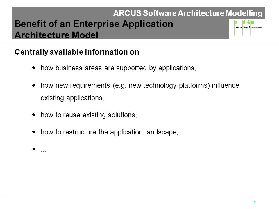 ARCUS Software Architecture Modelling 15 Online-Car-Catalogue Offer- and Order-Management Example: Car Shop OOM-Client employee master data Access Rights Component car inventory cataloguebasic equipment catalogue extra equipment catalogue customer master data offer master data Car ComponentSales Component GUI-Component Component Application Data