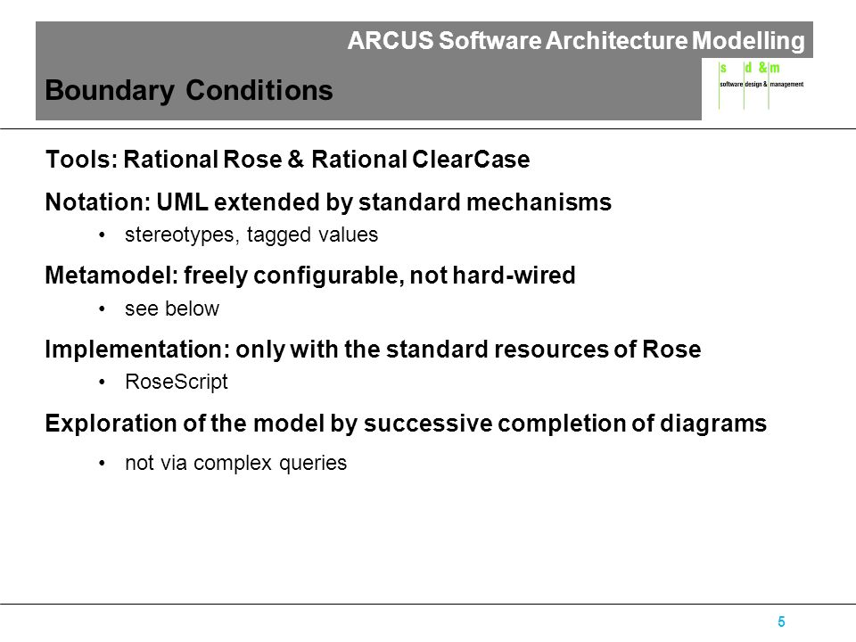 ARCUS Software Architecture Modelling 6 ARCUS method: A model connecting different submodels serverhost client Business Process Layer System Architecture Layer Problem Domain Layer Logical Application Layer