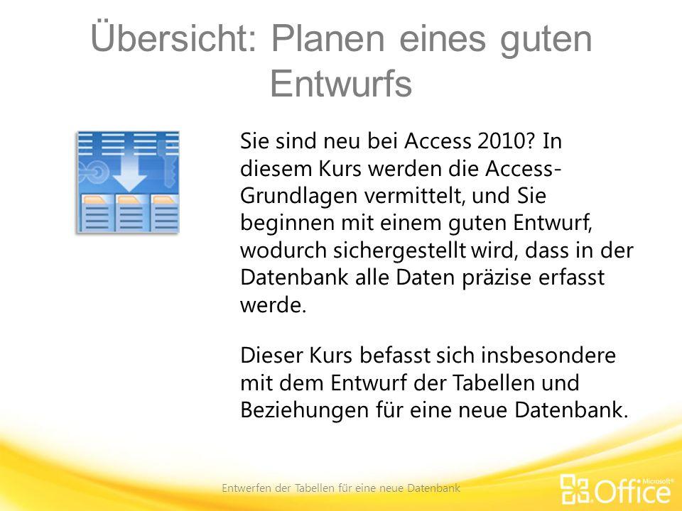 Entwurfstabellen für SharePoint Entwerfen der Tabellen für eine neue Datenbank Webdatenbanken verlangen Planung Entscheiden Sie im abschließenden Schritt des Entwurfsprozesses, ob die Datenbank in SharePoint veröffentlicht werden soll.