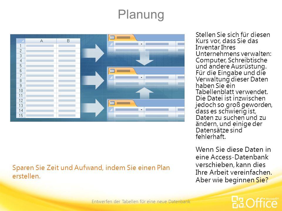 Planung Entwerfen der Tabellen für eine neue Datenbank Sparen Sie Zeit und Aufwand, indem Sie einen Plan erstellen.
