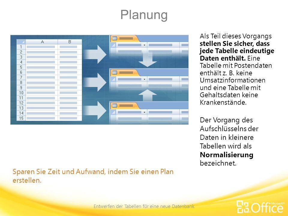 Planen der Primärschlüssel Entwerfen der Tabellen für eine neue Datenbank Ein wichtiges Feld für alle Tabellen Primärschlüssel identifizieren nicht nur jeden Datensatz in der Datenbank, sie werden auch in den Beziehungen zwischen den Tabellen verwendet.