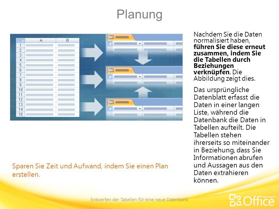 Planen der Primärschlüssel Entwerfen der Tabellen für eine neue Datenbank Ein wichtiges Feld für alle Tabellen Access stellt mehrere Methoden für das Erstellen von Primärschlüsseln zur Verfügung.