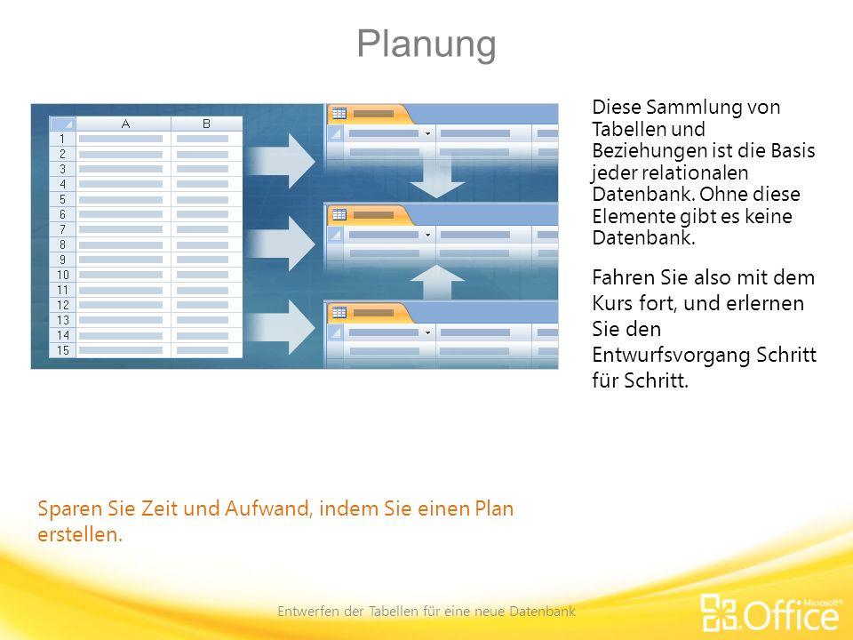 Entscheidung für einen bestimmten Zweck Entwerfen der Tabellen für eine neue Datenbank Wer, was, wann, wo, warum und wie Der erste Schritt beim Planen einer neuen Datenbank besteht im Erfassen ihres Zwecks.