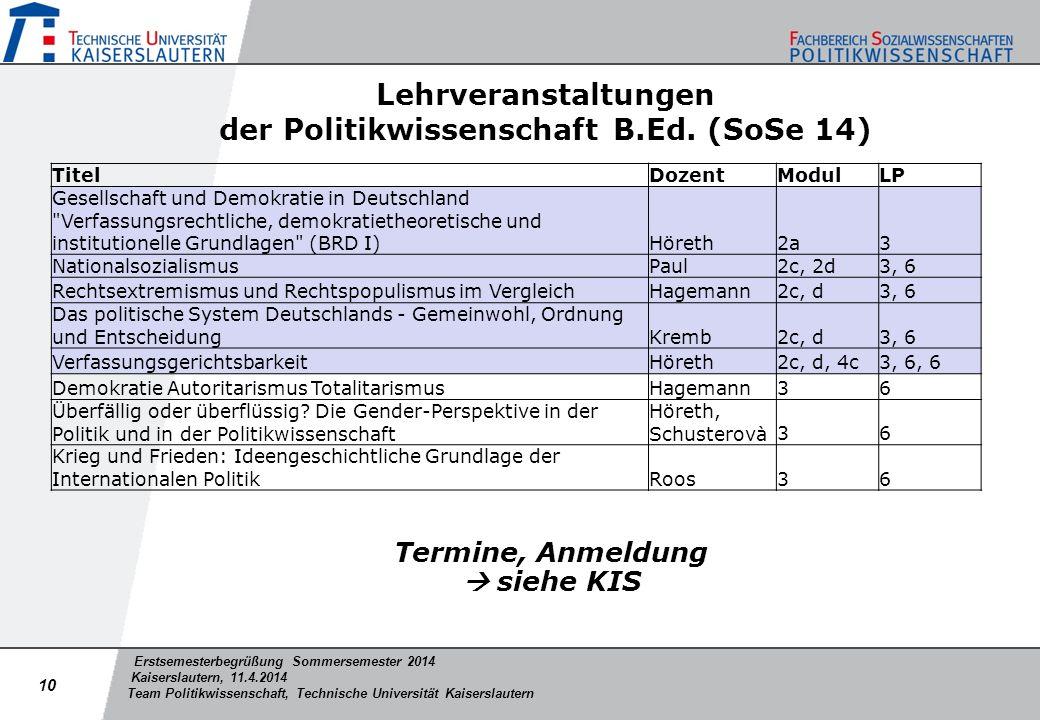 Erstsemesterbegrüßung Sommersemester 2014 Kaiserslautern, 11.4.2014 Team Politikwissenschaft, Technische Universität Kaiserslautern Lehrveranstaltunge