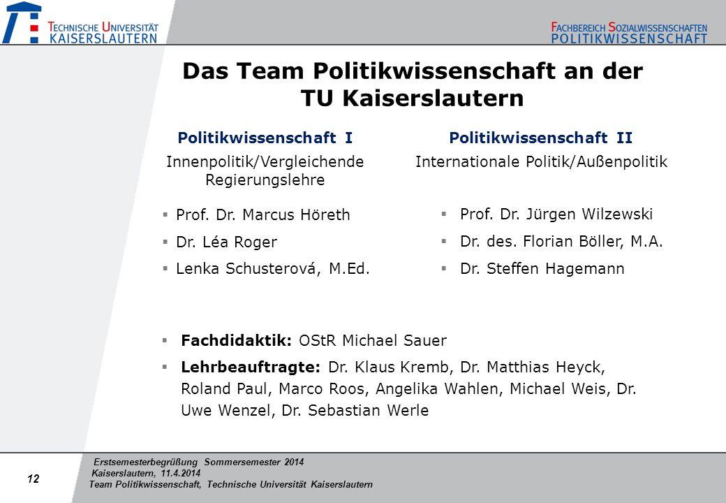Erstsemesterbegrüßung Sommersemester 2014 Kaiserslautern, 11.4.2014 Team Politikwissenschaft, Technische Universität Kaiserslautern Das Team Politikwi