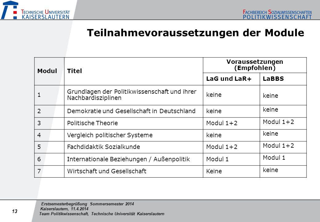 Erstsemesterbegrüßung Sommersemester 2014 Kaiserslautern, 11.4.2014 Team Politikwissenschaft, Technische Universität Kaiserslautern Teilnahmevorausset