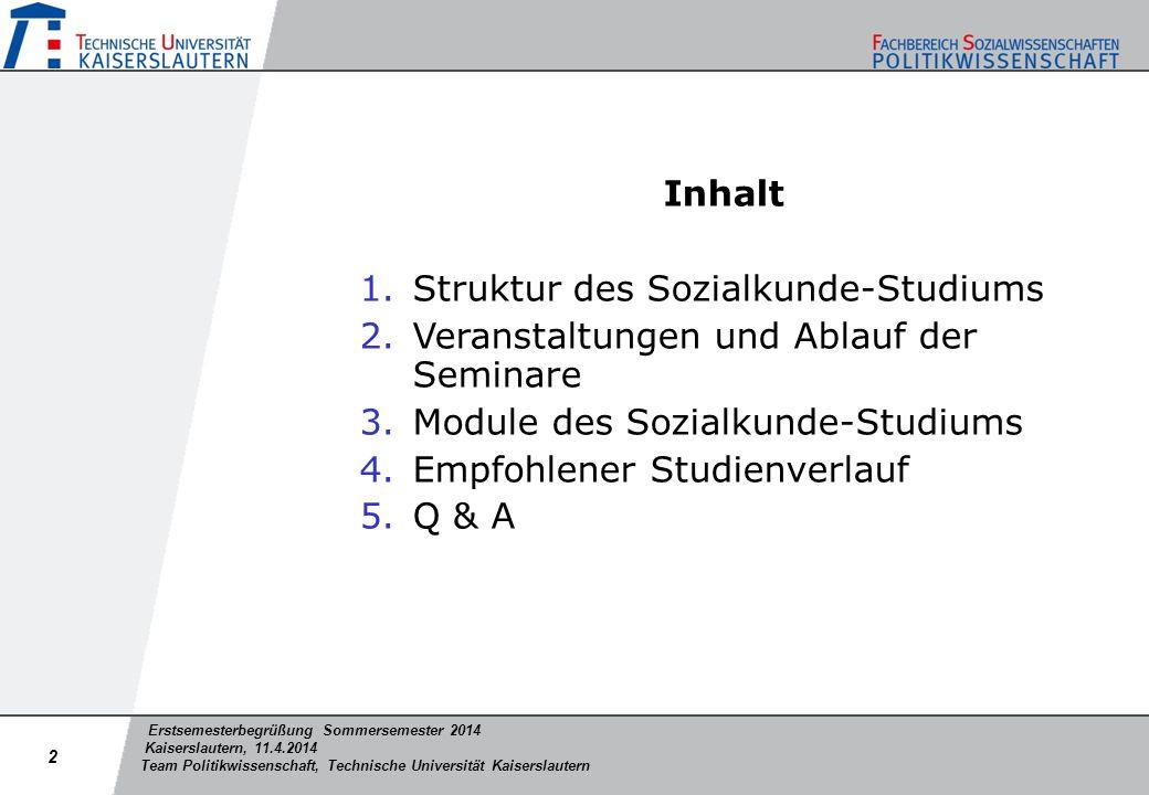 Erstsemesterbegrüßung Sommersemester 2014 Kaiserslautern, 11.4.2014 Team Politikwissenschaft, Technische Universität Kaiserslautern Inhalt 1.Struktur