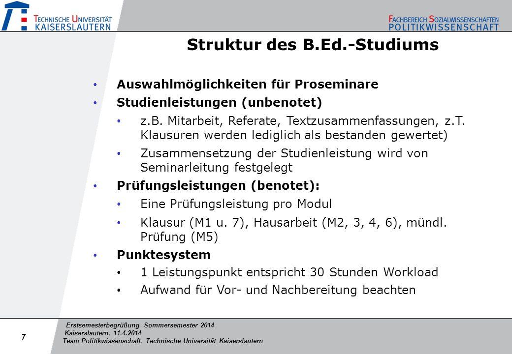 Erstsemesterbegrüßung Sommersemester 2014 Kaiserslautern, 11.4.2014 Team Politikwissenschaft, Technische Universität Kaiserslautern Struktur des B.Ed.