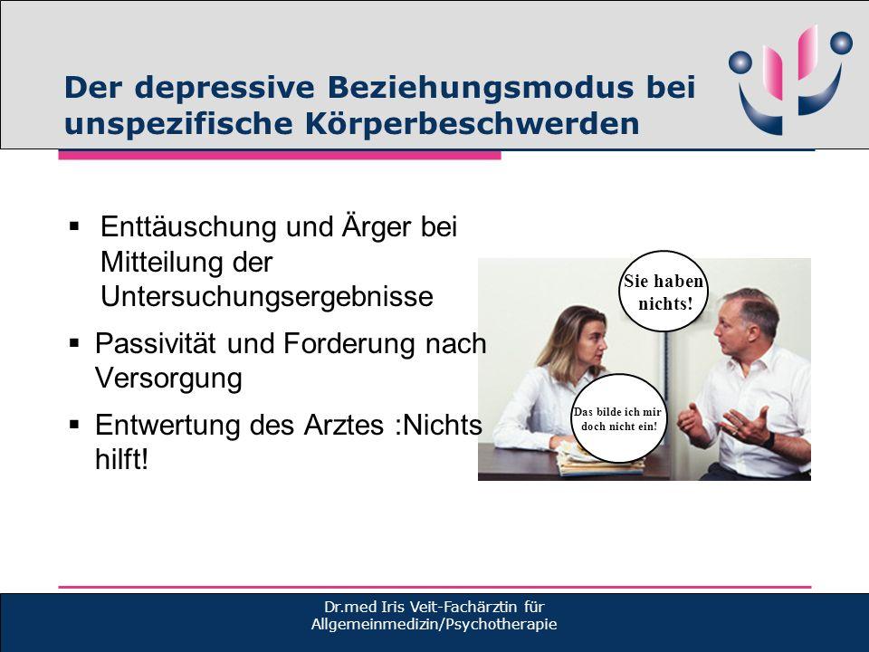 Der depressive Beziehungsmodus bei unspezifische Körperbeschwerden Dr.med Iris Veit-Fachärztin für Allgemeinmedizin/Psychotherapie Enttäuschung und Är
