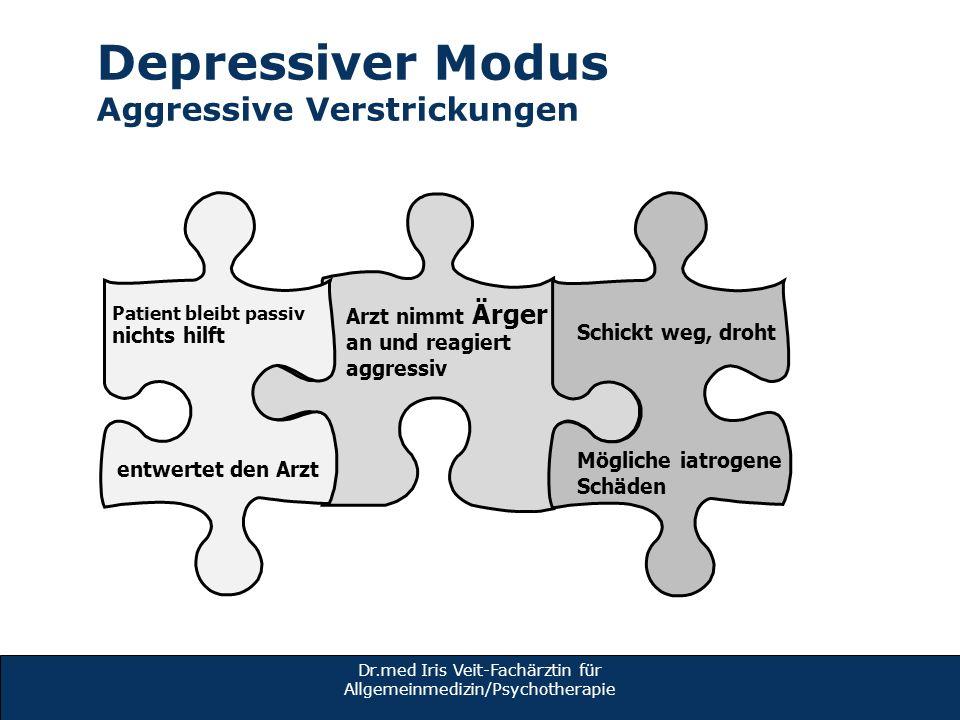 Dr.med Iris Veit-Fachärztin für Allgemeinmedizin/Psychotherapie Depressiver Modus Aggressive Verstrickungen en Arzt nimmt Ärger an und reagiert aggres