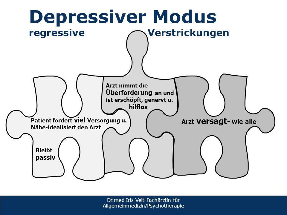 Dr.med Iris Veit-Fachärztin für Allgemeinmedizin/Psychotherapie Depressiver Modus regressive Verstrickungen Arzt nimmt die Überforderung an und ist er