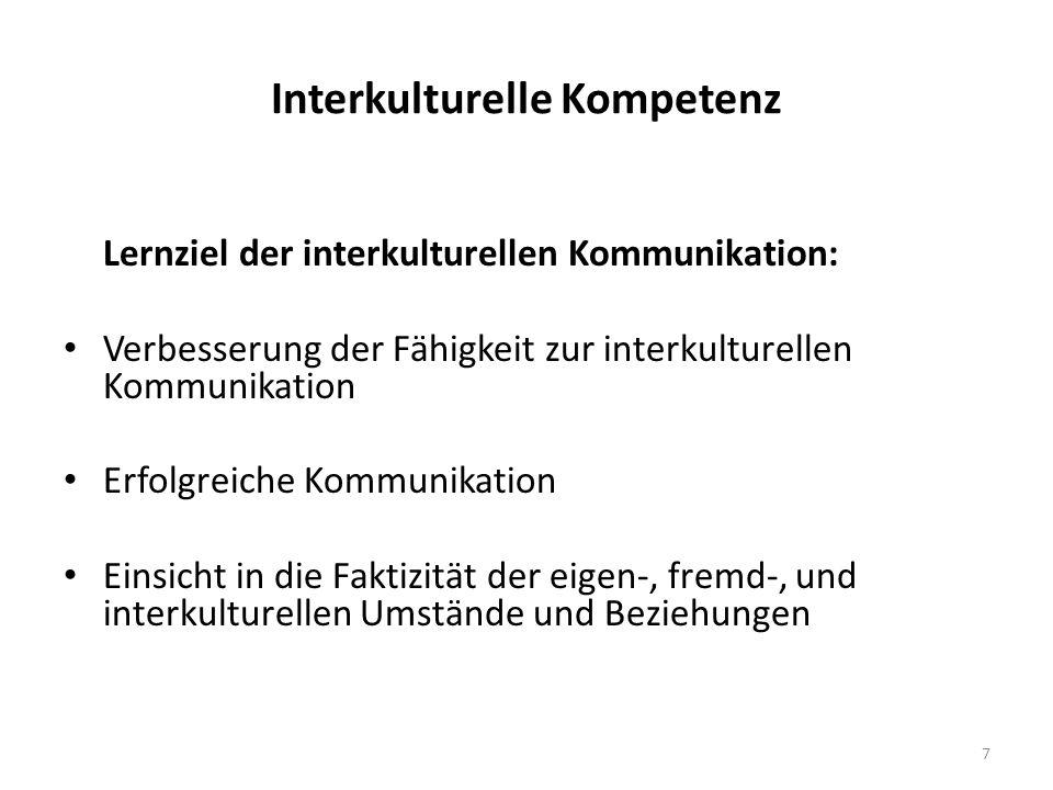 Interkulturelle Kompetenz Lernziel der interkulturellen Kommunikation: Verbesserung der Fähigkeit zur interkulturellen Kommunikation Erfolgreiche Kommunikation Einsicht in die Faktizität der eigen-, fremd-, und interkulturellen Umstände und Beziehungen 7