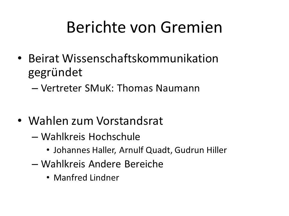 Wahl des Fachverbandsvorsitzenden Reinhold Rückl stand nach 3 Amtsperioden nicht mehr zur Wahl, Gisela Anton nach 2 Amtsperioden als Stellvertreterin ebenso Wahlvorschläge: – VorsitzGregor Herten, U FR – StellvertretungChristian Spiering, DESY Z – Beide einstimmig gewählt