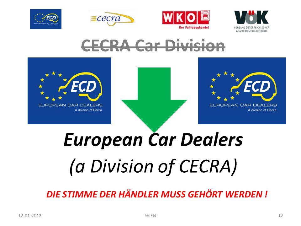 CECRA Car Division European Car Dealers (a Division of CECRA) 12-01-2012WIEN12 DIE STIMME DER HÄNDLER MUSS GEHÖRT WERDEN !