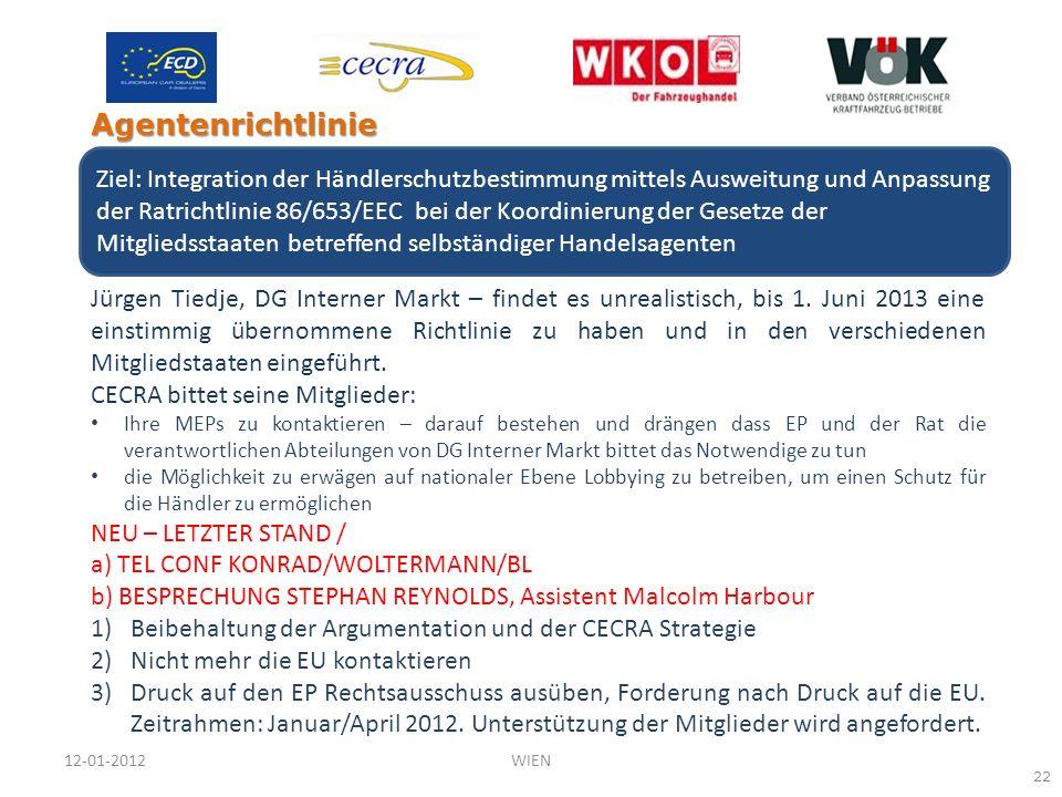 Jürgen Tiedje, DG Interner Markt – findet es unrealistisch, bis 1. Juni 2013 eine einstimmig übernommene Richtlinie zu haben und in den verschiedenen