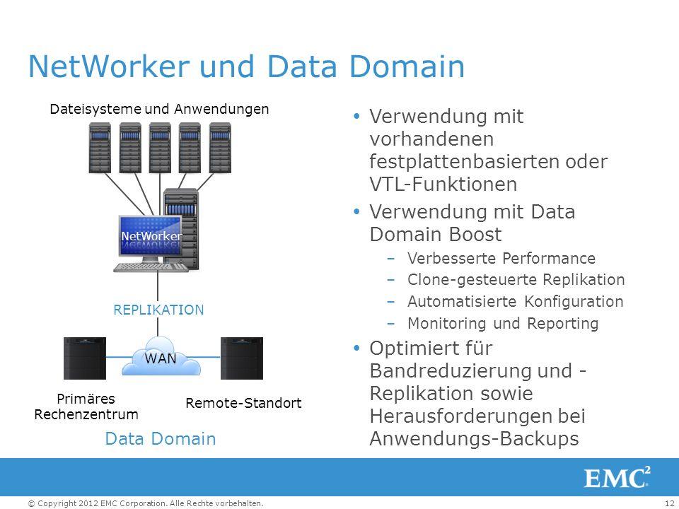 12© Copyright 2012 EMC Corporation. Alle Rechte vorbehalten. NetWorker und Data Domain Verwendung mit vorhandenen festplattenbasierten oder VTL-Funkti