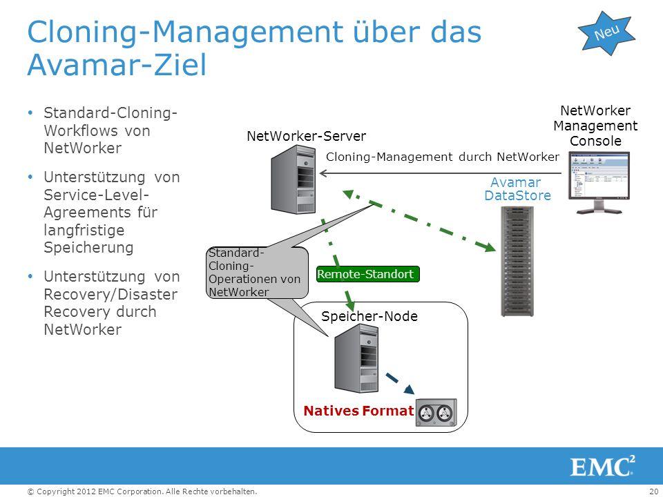 20© Copyright 2012 EMC Corporation. Alle Rechte vorbehalten. Cloning-Management über das Avamar-Ziel Standard-Cloning- Workflows von NetWorker Unterst