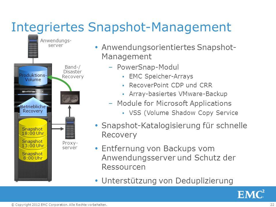 22© Copyright 2012 EMC Corporation. Alle Rechte vorbehalten. Integriertes Snapshot-Management Anwendungsorientiertes Snapshot- Management –PowerSnap-M