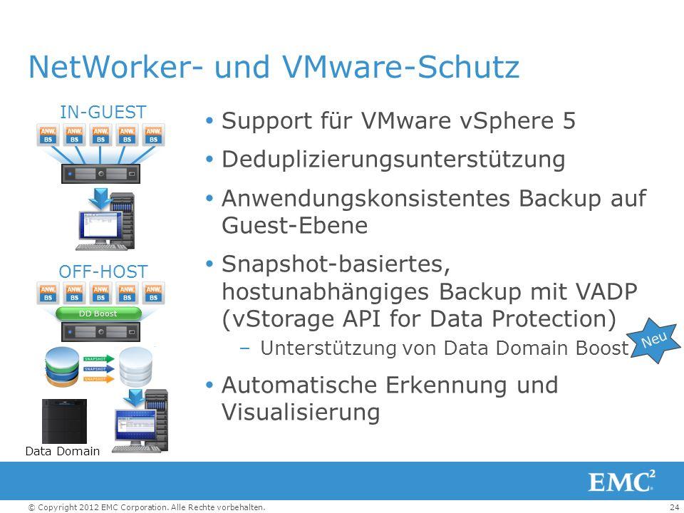 24© Copyright 2012 EMC Corporation. Alle Rechte vorbehalten. NetWorker- und VMware-Schutz Support für VMware vSphere 5 Deduplizierungsunterstützung An