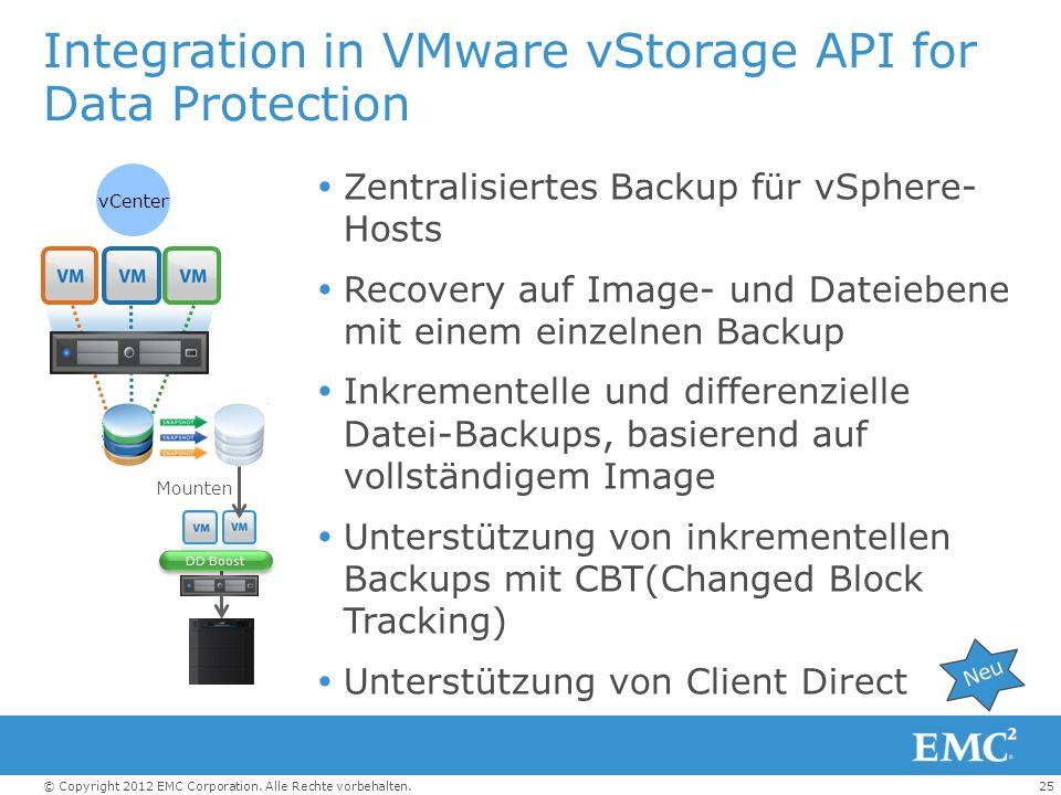 25© Copyright 2012 EMC Corporation. Alle Rechte vorbehalten. Integration in VMware vStorage API for Data Protection Zentralisiertes Backup für vSphere
