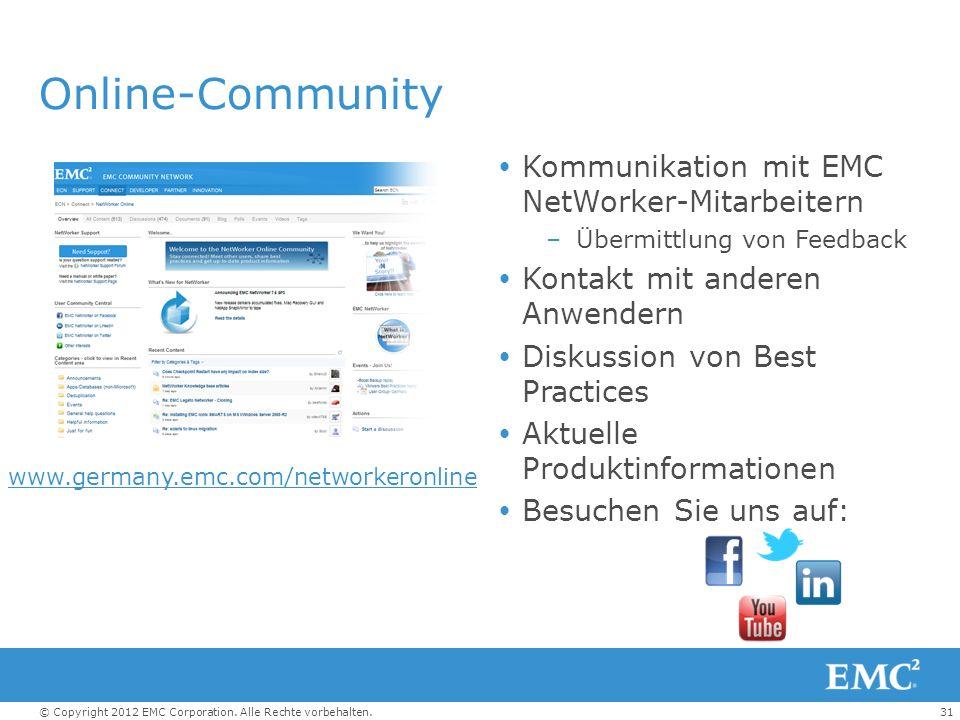 31© Copyright 2012 EMC Corporation. Alle Rechte vorbehalten. Online-Community Kommunikation mit EMC NetWorker-Mitarbeitern –Übermittlung von Feedback