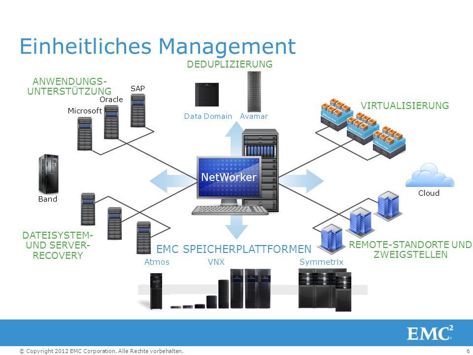 6© Copyright 2012 EMC Corporation. Alle Rechte vorbehalten. Einheitliches Management DATEISYSTEM- UND SERVER- RECOVERY ANWENDUNGS- UNTERSTÜTZUNG REMOT