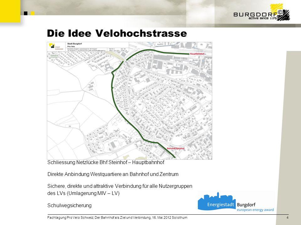 Sanierung Brücke BLS und Doppelspurausbau BLS AG -> BLS übernimmt Brückenverbreiterung zu Gunsten der Velohochstrasse Zeitgleiche Realisierung der Velohochstrasse (Stadt) -> Nutzung gleichesTrassee, Baupiste BLS als Unterbau für Velohochstrasse Koordination mit Pro Velo Emmental, BLS AG, SBB AG -> effizienter Bauablauf und Informationsfluss Kostenoptimierung -> ermöglicht Realisierung einer lange bestehenden Idee 5Fachtagung Pro Velo Schweiz; Der Bahnhof als Ziel und Verbindung, 15.