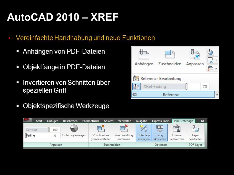 AutoCAD 2010 – XREF Vereinfachte Handhabung und neue Funktionen Anhängen von PDF-Dateien Objektfänge in PDF-Dateien Invertieren von Schnitten über speziellen Griff Objektspezifische Werkzeuge