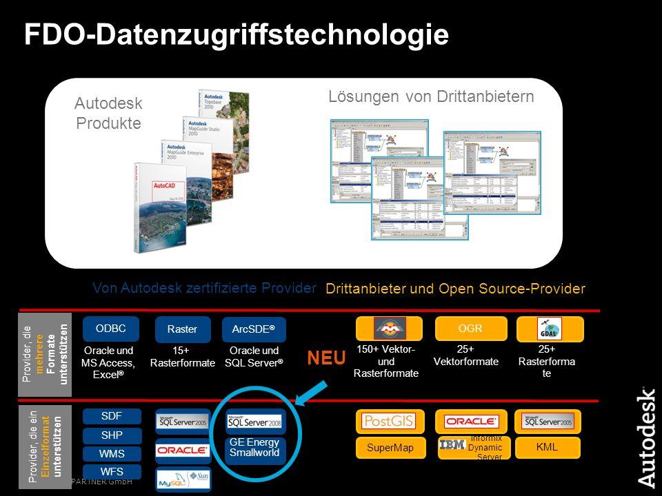 © 2009 CAD PARTNER GmbH ArcSDE ® FDO-Datenzugriffstechnologie SDF SHP ODBC Raster WMS WFS Drittanbieter und Open Source-Provider OGR Oracle und SQL Se