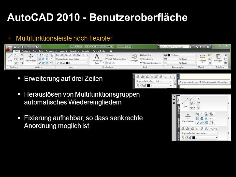 AutoCAD 2010 - Benutzeroberfläche Multifunktionsleiste noch flexibler Erweiterung auf drei Zeilen Herauslösen von Multifunktionsgruppen – automatisches Wiedereingliedern Fixierung aufhebbar, so dass senkrechte Anordnung möglich ist