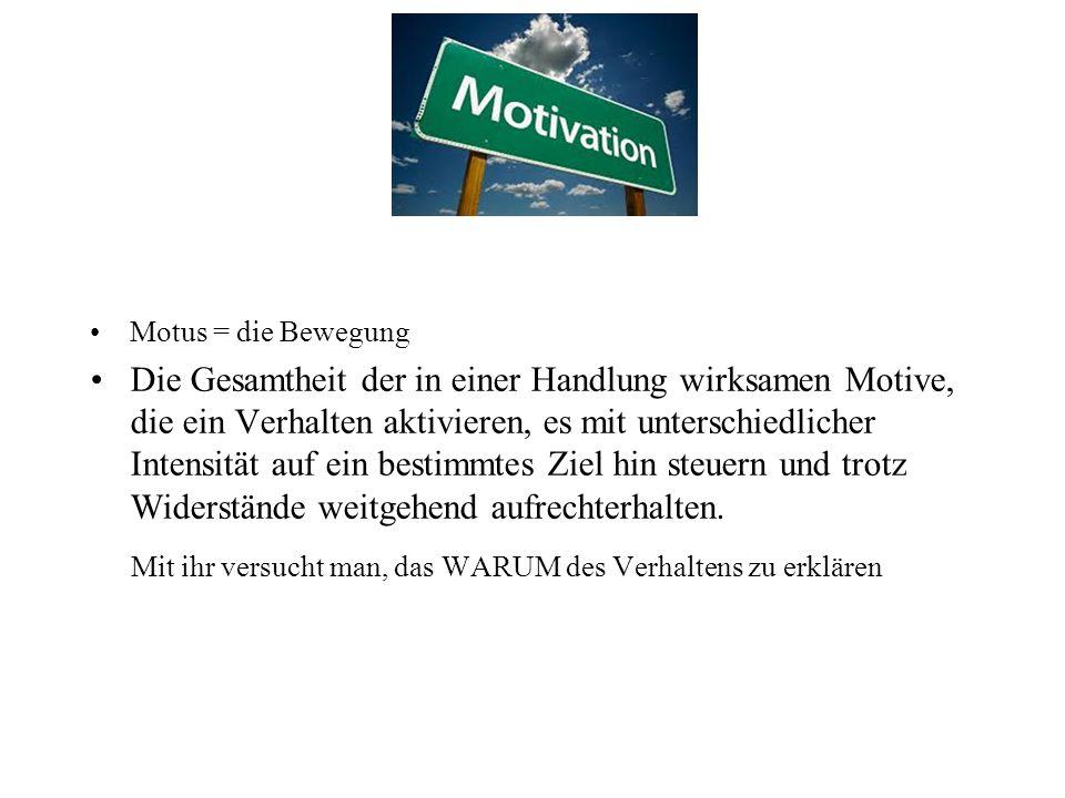 Motus = die Bewegung Die Gesamtheit der in einer Handlung wirksamen Motive, die ein Verhalten aktivieren, es mit unterschiedlicher Intensität auf ein