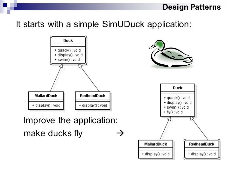 Design Patterns It starts with a simple SimUDuck application: Improve the application: make ducks fly