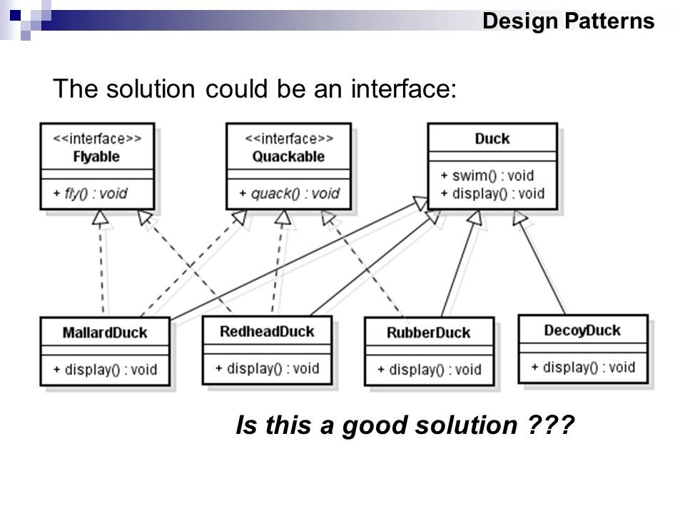 Design Patterns The solution could be an interface: Is this a good solution