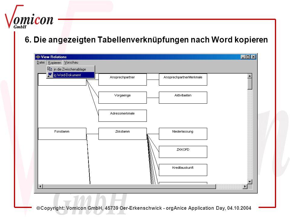 Copyright: Vomicon GmbH, 45739 Oer-Erkenschwick - orgAnice Application Day, 04.10.2004 6. Die angezeigten Tabellenverknüpfungen nach Word kopieren