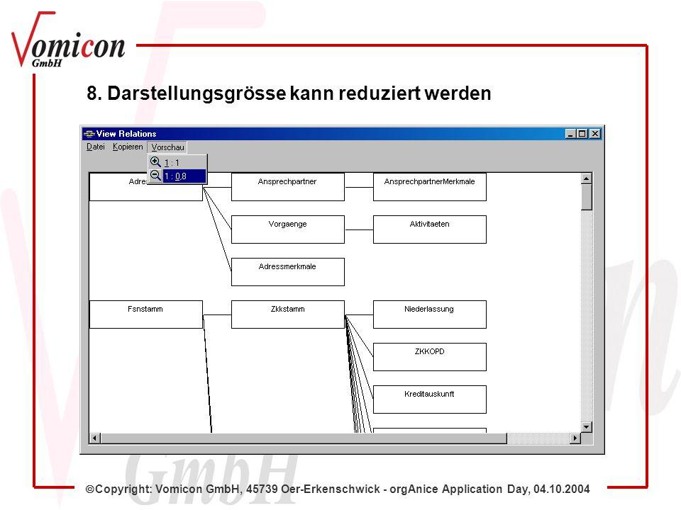 Copyright: Vomicon GmbH, 45739 Oer-Erkenschwick - orgAnice Application Day, 04.10.2004 8. Darstellungsgrösse kann reduziert werden