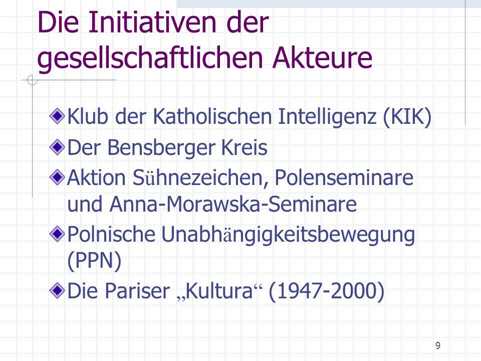 9 Die Initiativen der gesellschaftlichen Akteure Klub der Katholischen Intelligenz (KIK) Der Bensberger Kreis Aktion S ü hnezeichen, Polenseminare und Anna-Morawska-Seminare Polnische Unabh ä ngigkeitsbewegung (PPN) Die Pariser Kultura (1947-2000)
