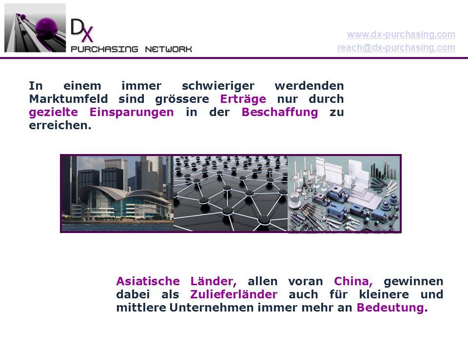 www.dx-purchasing.com reach@dx-purchasing.com In einem immer schwieriger werdenden Marktumfeld sind grössere Erträge nur durch gezielte Einsparungen in der Beschaffung zu erreichen.