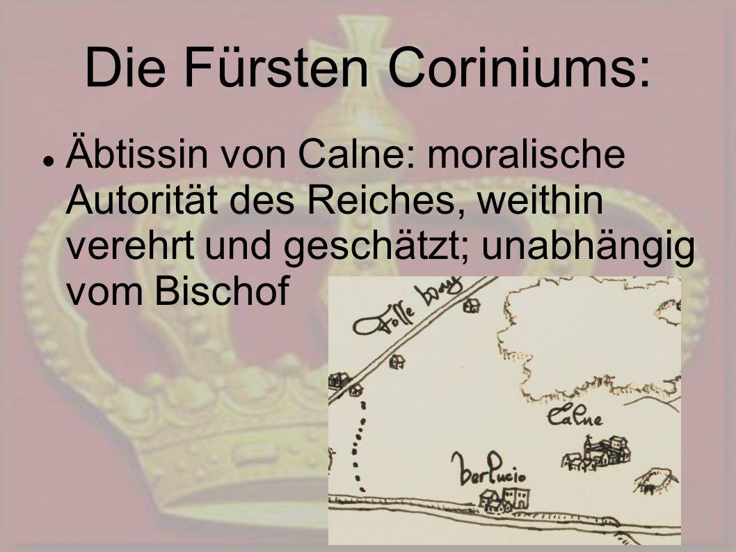 Die Fürsten Coriniums: Äbtissin von Calne: moralische Autorität des Reiches, weithin verehrt und geschätzt; unabhängig vom Bischof