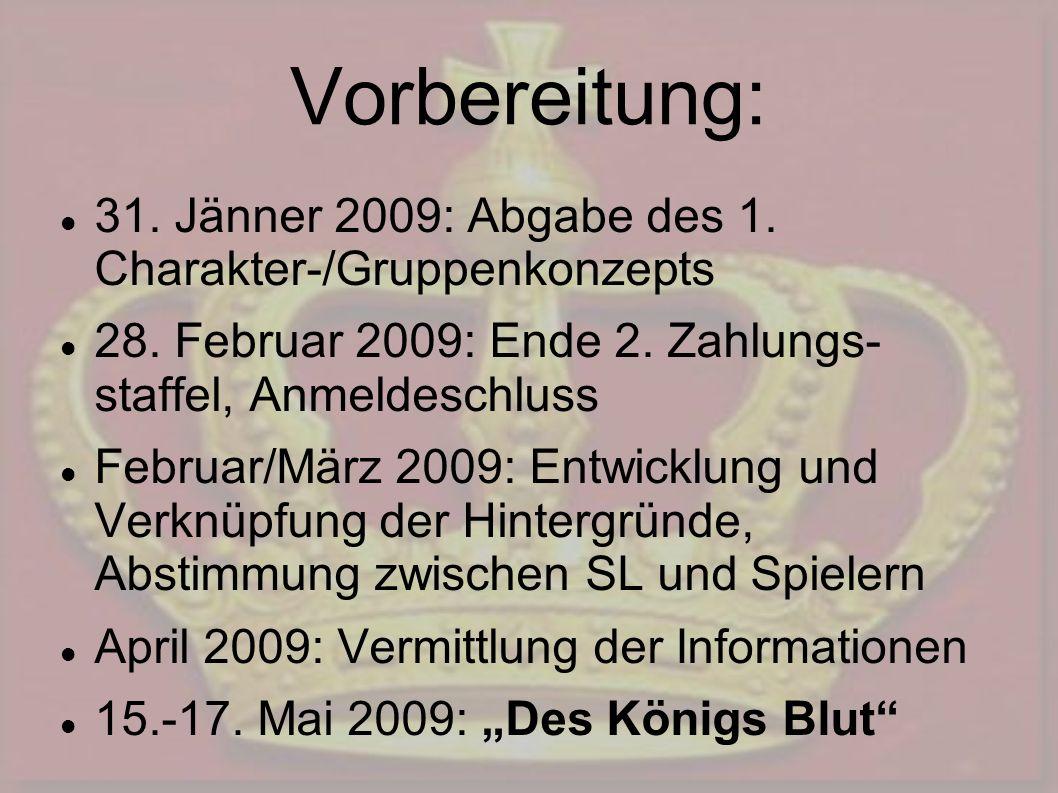 Vorbereitung: 31. Jänner 2009: Abgabe des 1. Charakter-/Gruppenkonzepts 28. Februar 2009: Ende 2. Zahlungs- staffel, Anmeldeschluss Februar/März 2009: