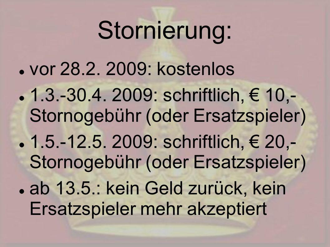 Stornierung: vor 28.2. 2009: kostenlos 1.3.-30.4. 2009: schriftlich, 10,- Stornogebühr (oder Ersatzspieler) 1.5.-12.5. 2009: schriftlich, 20,- Stornog