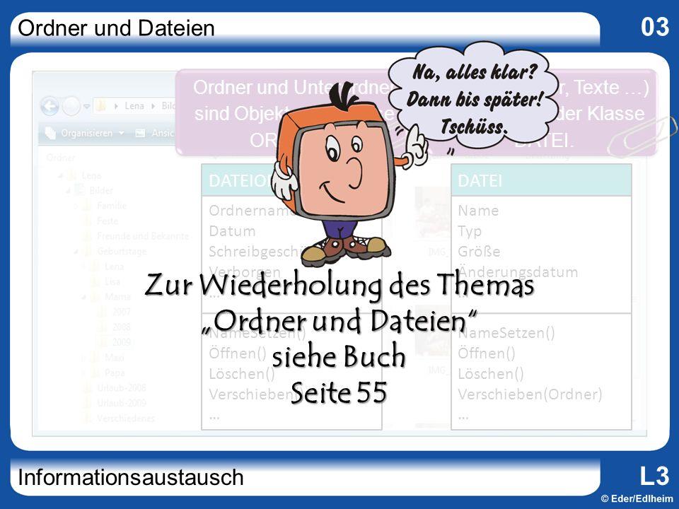 Ordner und Dateien 03 Informationsaustausch L3 Ordnername Datum Schreibgeschützt Verborgen … NameSetzen() Öffnen() Löschen() Verschieben() … DATEIORDN