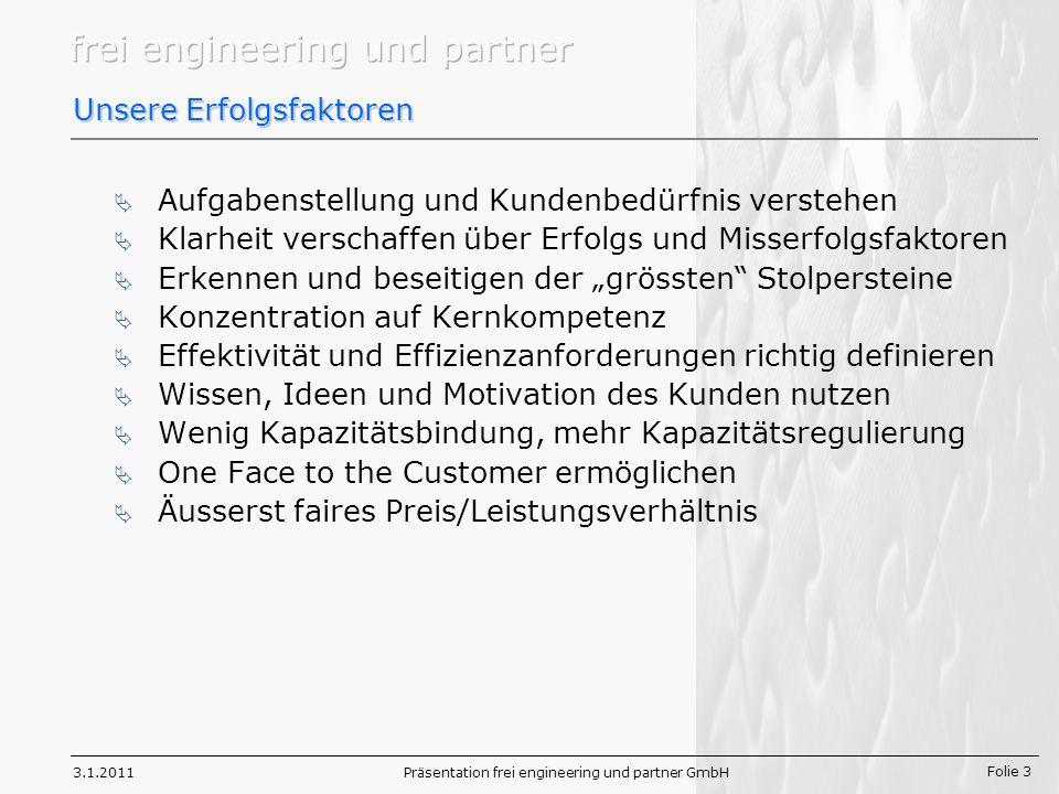 Folie 3 3.1.2011Präsentation frei engineering und partner GmbH Unsere Erfolgsfaktoren Aufgabenstellung und Kundenbedürfnis verstehen Klarheit verschaffen über Erfolgs und Misserfolgsfaktoren Erkennen und beseitigen der grössten Stolpersteine Konzentration auf Kernkompetenz Effektivität und Effizienzanforderungen richtig definieren Wissen, Ideen und Motivation des Kunden nutzen Wenig Kapazitätsbindung, mehr Kapazitätsregulierung One Face to the Customer ermöglichen Äusserst faires Preis/Leistungsverhältnis