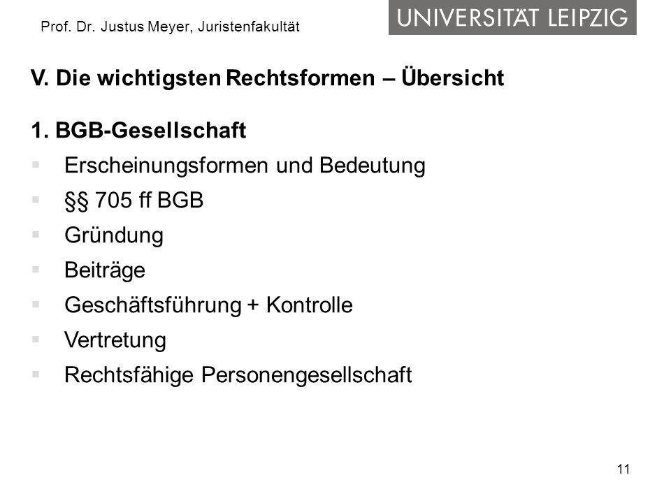 11 Prof. Dr. Justus Meyer, Juristenfakultät V. Die wichtigsten Rechtsformen – Übersicht 1. BGB-Gesellschaft Erscheinungsformen und Bedeutung §§ 705 ff