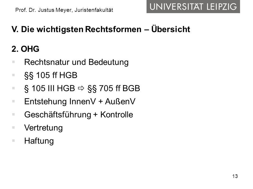 13 Prof. Dr. Justus Meyer, Juristenfakultät V. Die wichtigsten Rechtsformen – Übersicht 2. OHG Rechtsnatur und Bedeutung §§ 105 ff HGB § 105 III HGB §