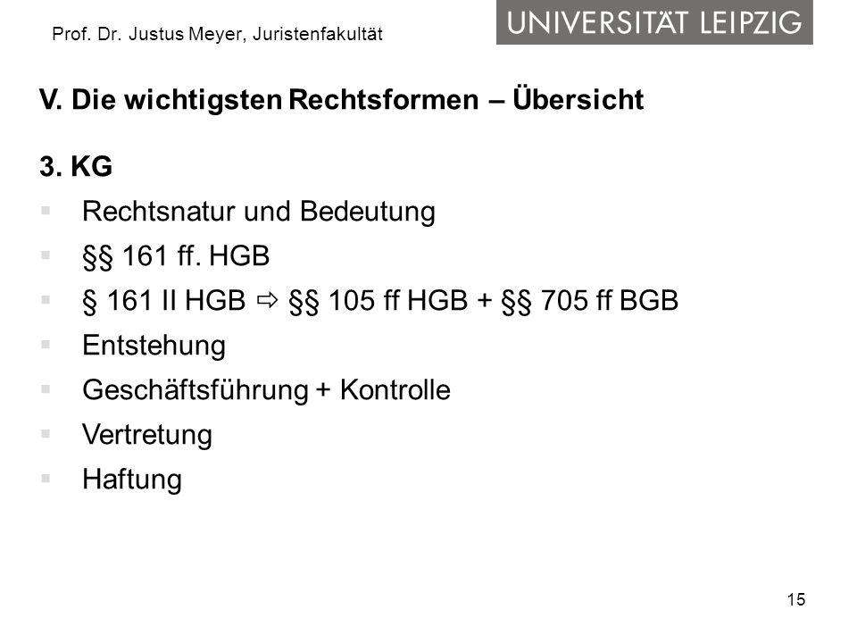 15 Prof. Dr. Justus Meyer, Juristenfakultät V. Die wichtigsten Rechtsformen – Übersicht 3. KG Rechtsnatur und Bedeutung §§ 161 ff. HGB § 161 II HGB §§